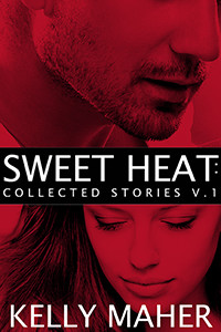 Cover of Sweet Heat Volume 1 with image of a man's lower face with beard scruff on top, the title in the middle, and an image of a woman looking down, her hair flaring out on the bottom. Red wash overlay.