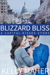 Book cover for Blizzard Bliss. Upper panel is an image of Pennsylvania Ave in Washington DC looking southeast at the U.S. Capitol. The trees lining the streets are snow covered. Below that image is a blue banner with the book title in a white font. The bottom image is of a couple, the woman with long dark hair and a grey knit cardigan on the left facing a dark-haired, bearded man wearing a bright blue henley shirt with the sleeves pushed up to his elbows on the right. HIs arms around the woman and they are smiling at each other.