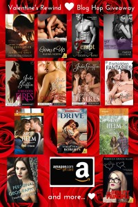 Image advertising the Valentine's Rewind Blog Hop giveaway, featuring 13 book covers from authors Alexis Anne, Amber Belledene,  Audra North, Jeanette Grey, Jodie Griffin, Nicole Helm, Rebecca Grace Allen, Tamsen Parker, and Teresa Noelle Roberts, as well as the image of an Amazon gift card.